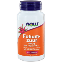 NOW Foliumzuur 800 mcg met vitamine B12